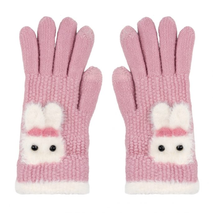 Gloves Touch Screen Fluffy Bunny Made With Acrylic by JOE COOL