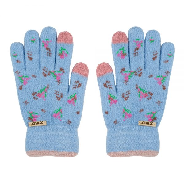 Gloves Touch Screen Vintage Floral Made With Acrylic by JOE COOL