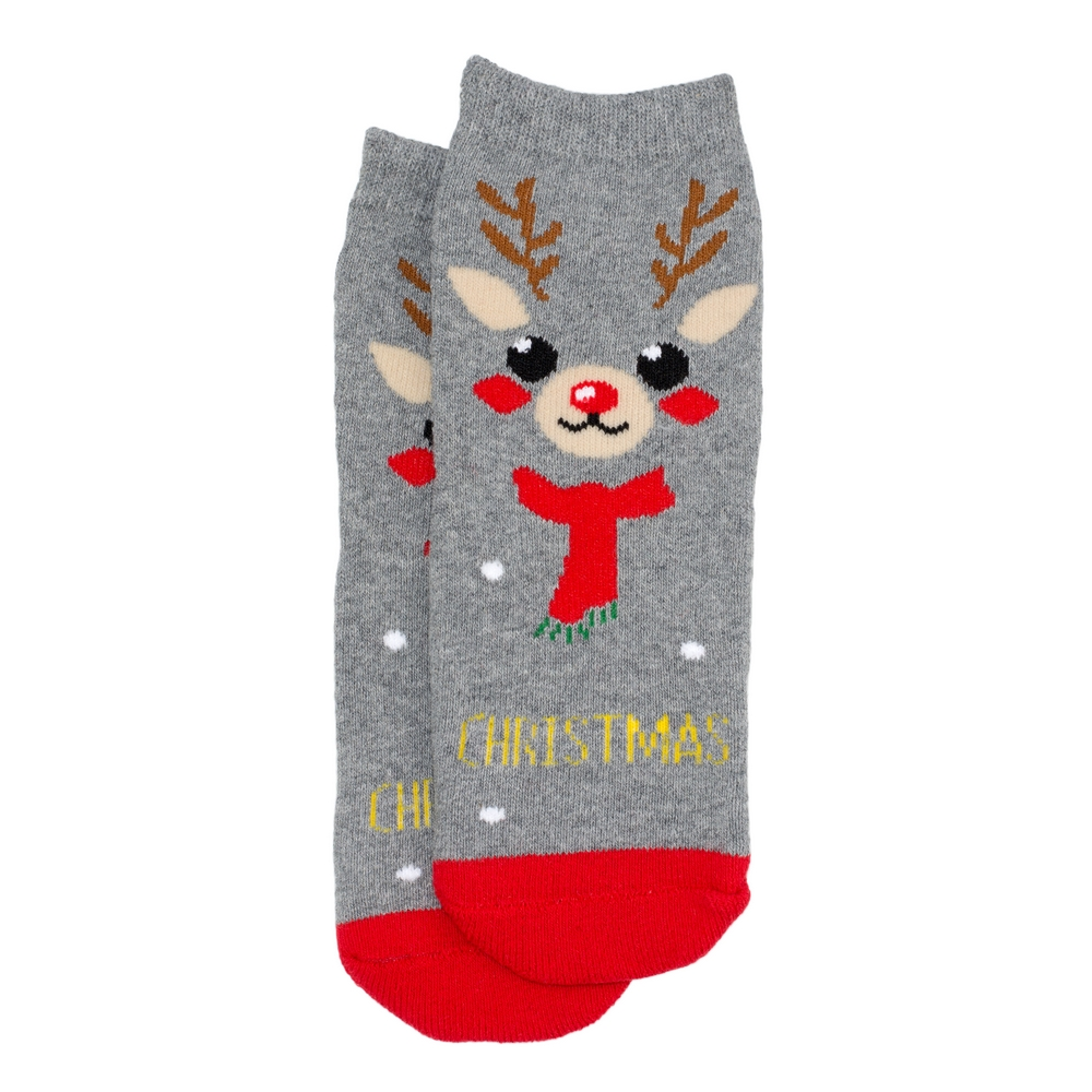 Socks Kids Reindeer Age 1-2 Made With Cotton & Spandex by JOE COOL