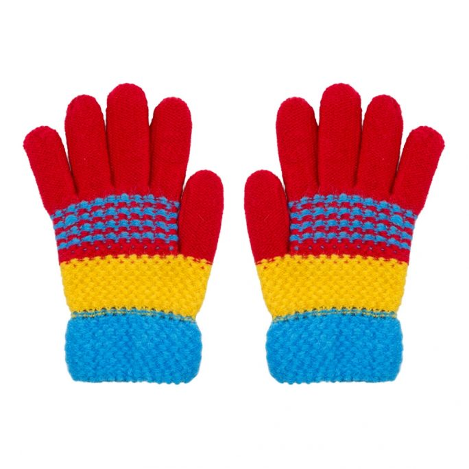 Gloves Bright Stripe Age 3-5 Made With Acrylic by JOE COOL