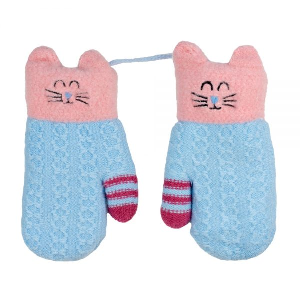 Gloves Kitty Mitten 5-8 Years Made With Acrylic by JOE COOL