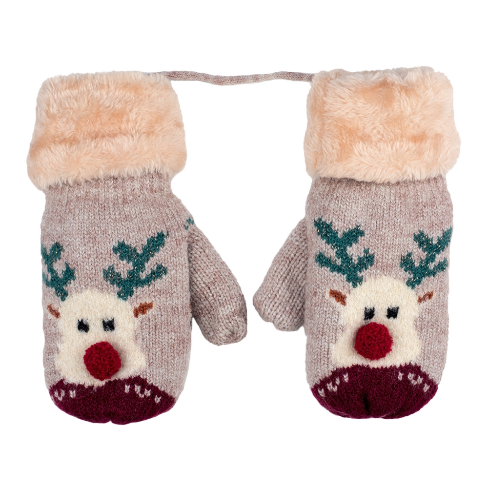 Gloves Bobble Rudolph 4-8 Years Made With Acrylic by JOE COOL
