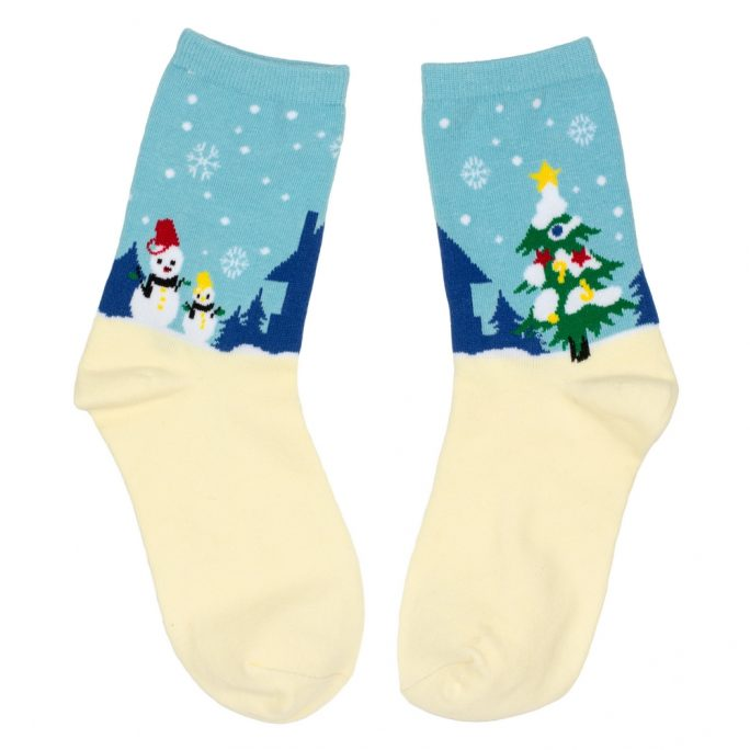 Socks Snowy Christmas Night Made With Cotton & Nylon by JOE COOL