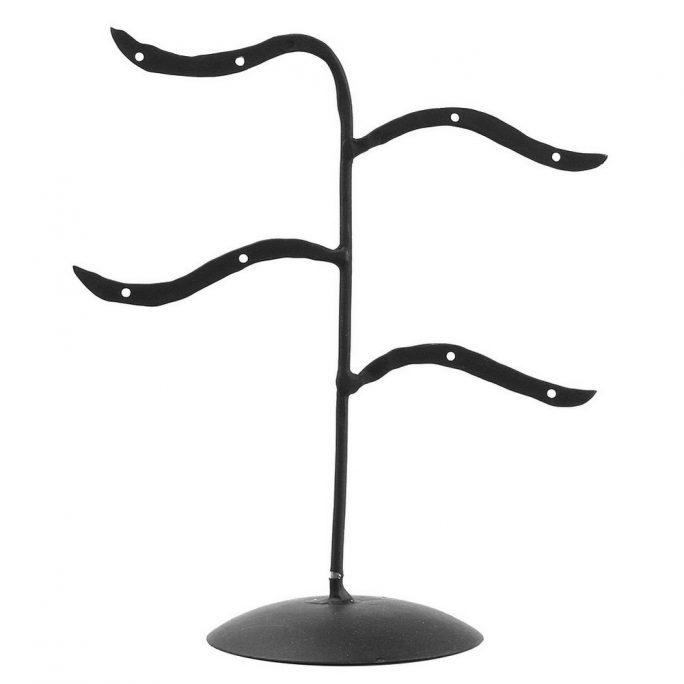 Pos Stand Display Earrings 4 Arm 8 Holes Black 16 X 18cm Made With Iron by JOE COOL