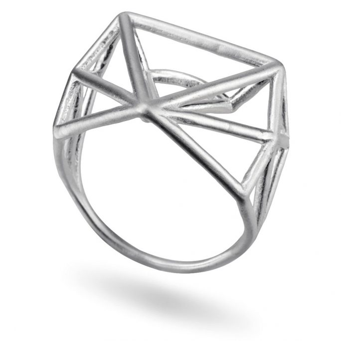 Ring 3d Abstract Triangle Made With Tin Alloy by JOE COOL