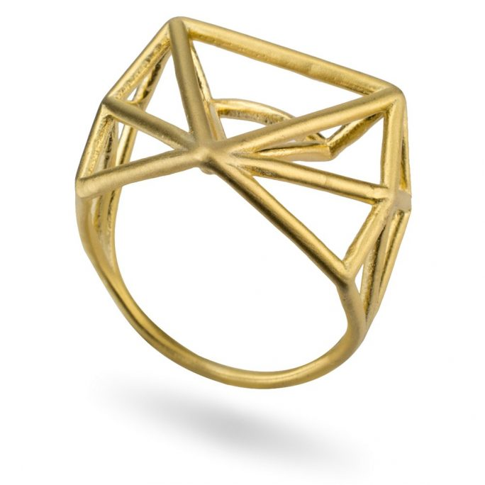 Ring 3d Abstract Gild Triangle Made With Tin Alloy by JOE COOL