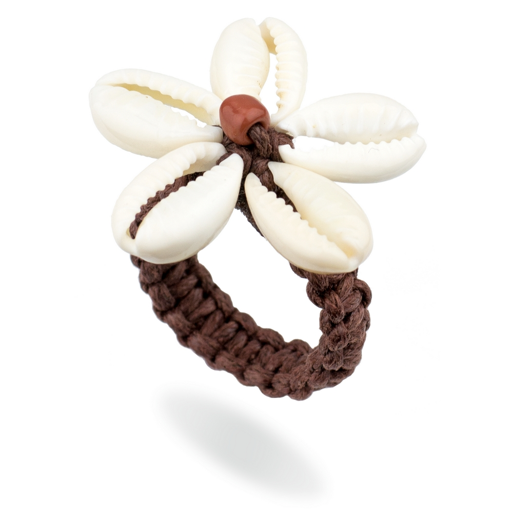 Ring Flower Made With Cord & Cowrie Shell by JOE COOL