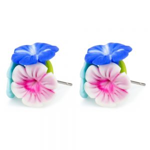 Stud Earring Hibiscus Posy Made With Fimo by JOE COOL