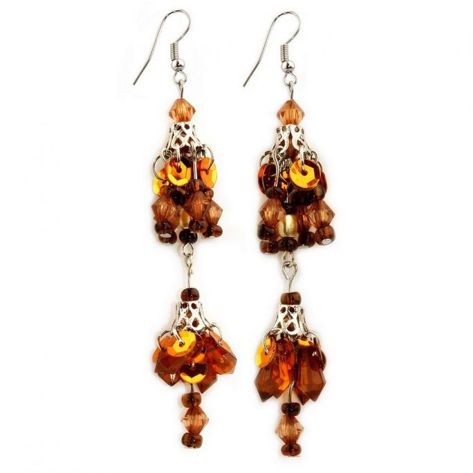 Drop Earring Bead Bunch Made With Zinc Alloy & Crystal Glass by JOE COOL