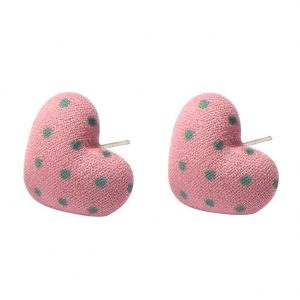 Stud Earring Textile Polka Heart Made With Polyester & Iron by JOE COOL
