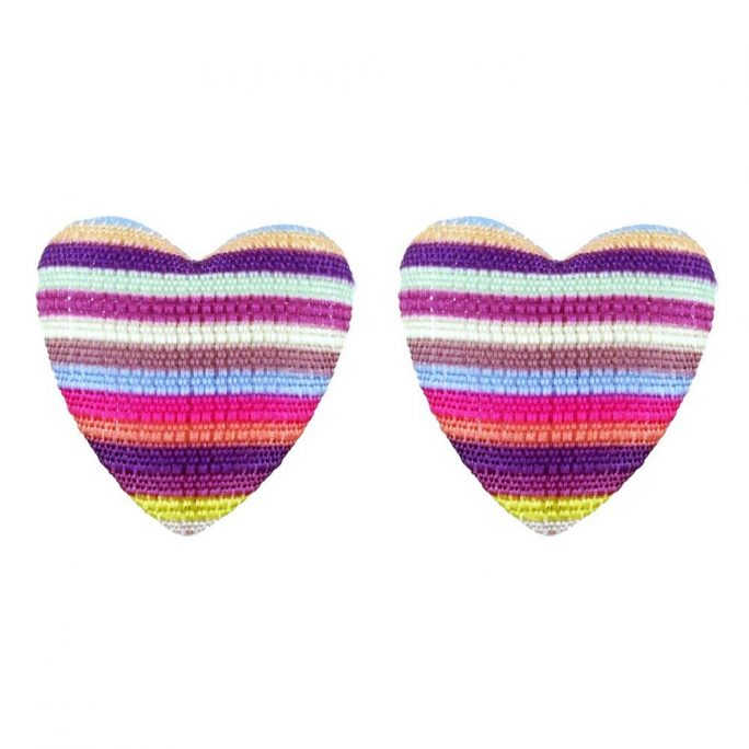 Stud Earring Heart Made With Fabric by JOE COOL