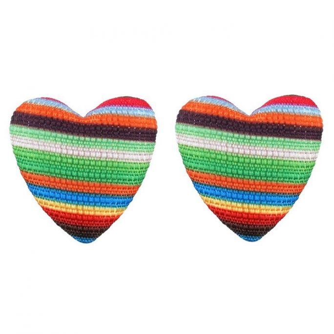 Stud Earring Heart Made With Fabric by JOE COOL