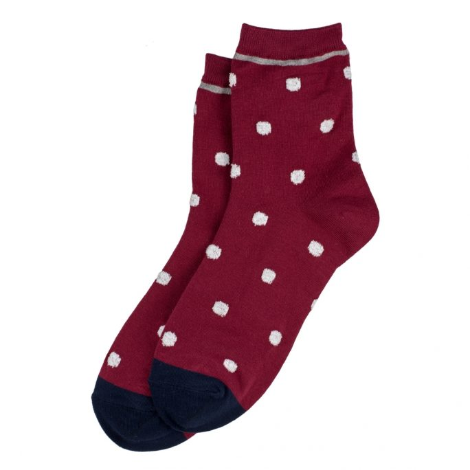 Socks Petit Polka Trim Made With Cotton & Spandex by JOE COOL
