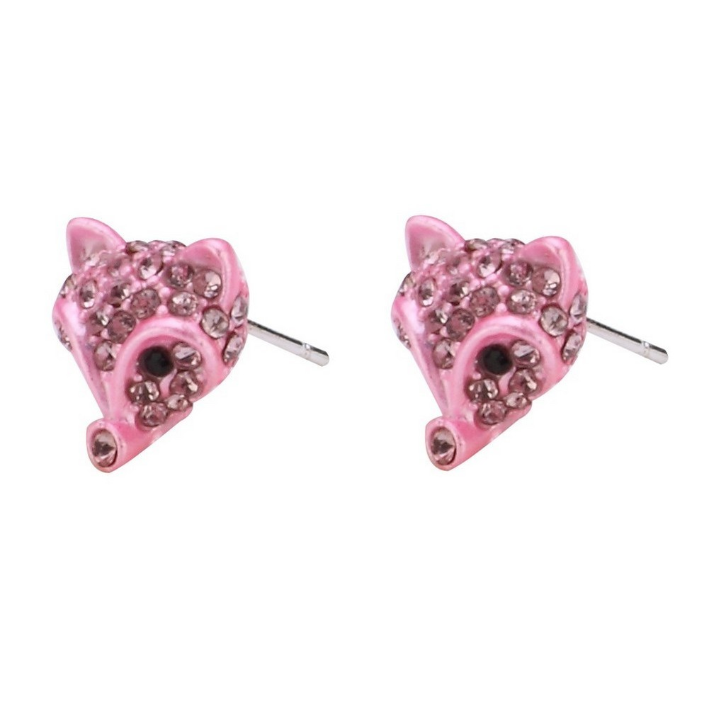 Stud Earring Fox Head 12mm Made With Crystal Glass & Tin Alloy by JOE COOL