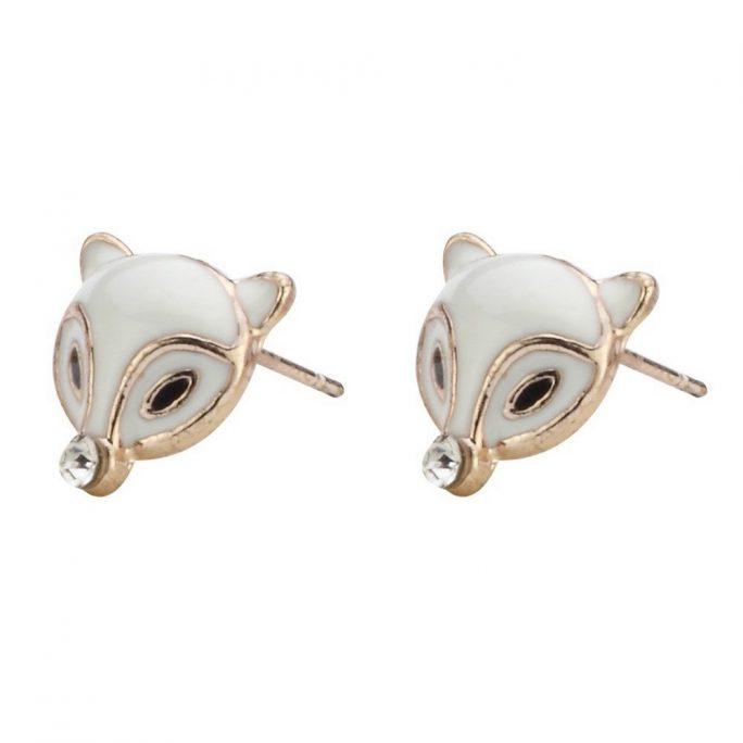 Stud Earring Fox Head Made With Enamel & Crystal Glass by JOE COOL