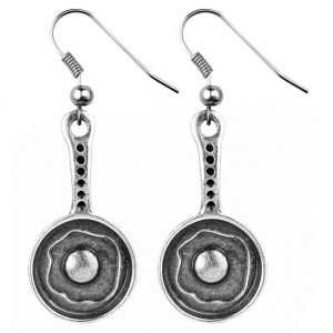Drop Earring Egg In Frying Pan Made With Tin Alloy by JOE COOL