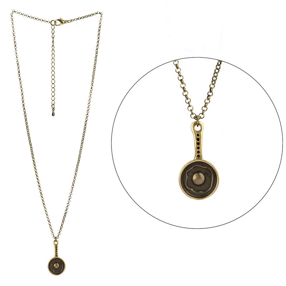 Necklace With A Pendant Egg In Frying Pan Made With Tin Alloy by JOE COOL
