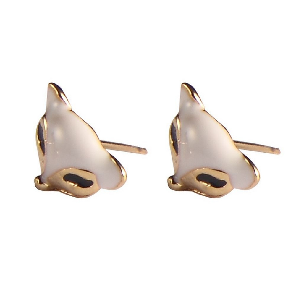 Stud Earring Fox Head Made With Enamel & Tin Alloy by JOE COOL