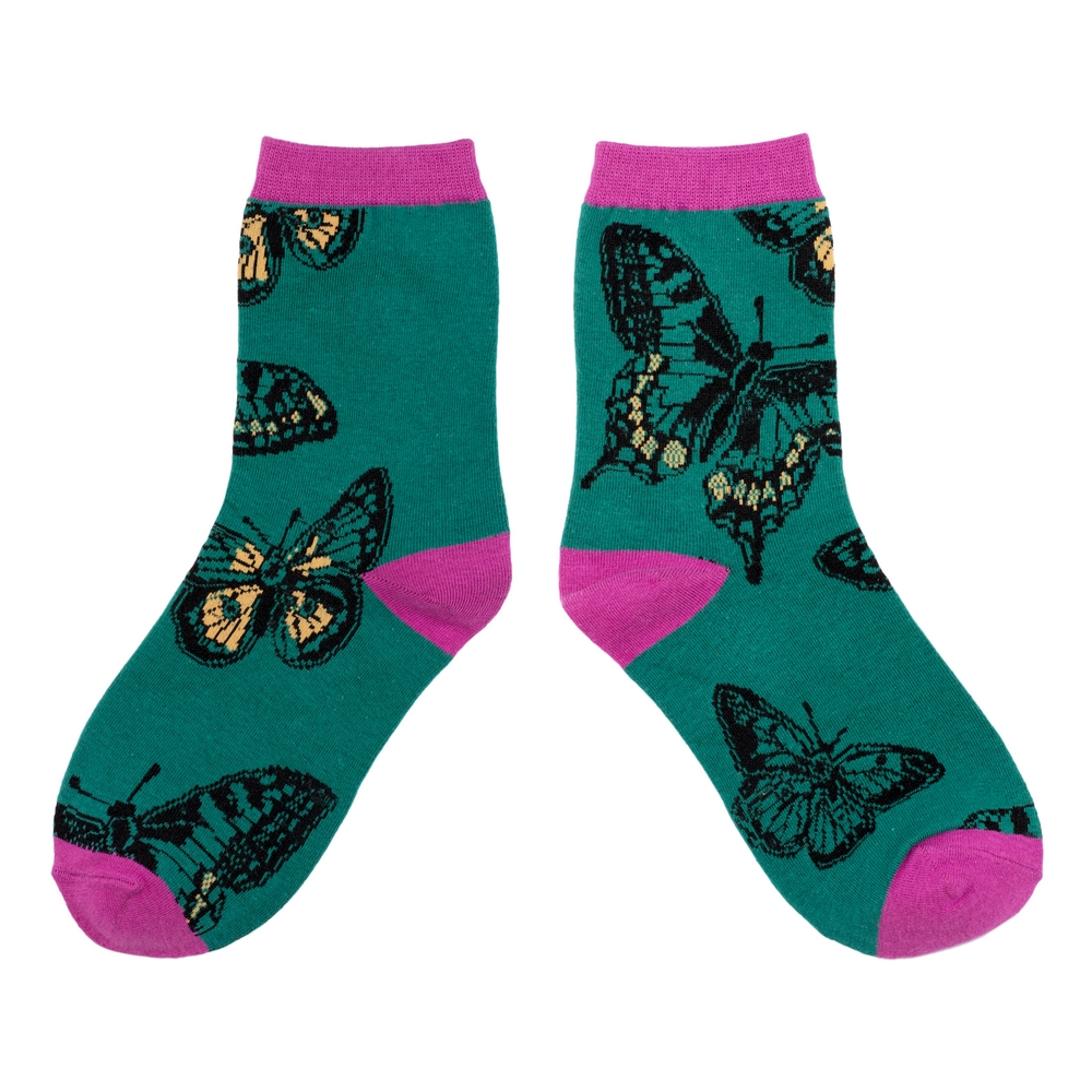 Socks Antique Butterfly Made With Cotton & Spandex by JOE COOL