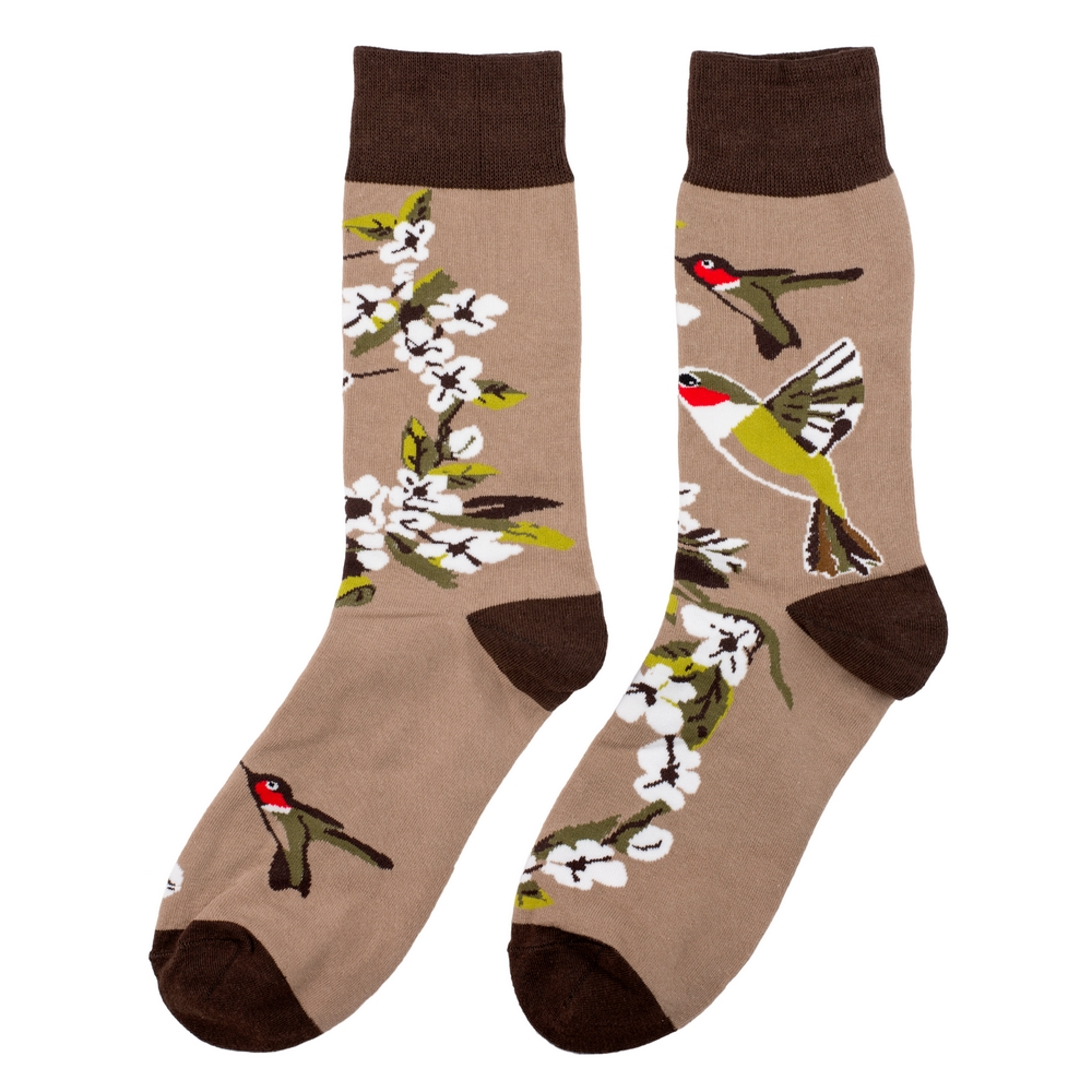 Socks Blossom Hummingbird Made With Cotton & Spandex by JOE COOL