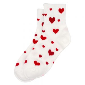 Socks Sparkle Heart Scarlet Made With Cotton & Spandex by JOE COOL