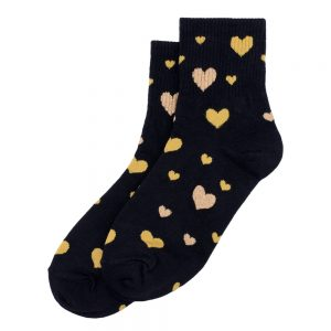 Socks Sparkle Heart Gold Made With Cotton & Spandex by JOE COOL