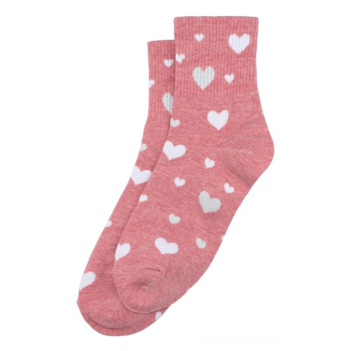Socks Sparkle Heart Crystal Made With Cotton & Spandex by JOE COOL