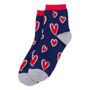 Socks Arty Hearty Red Made With Cotton & Spandex by JOE COOL
