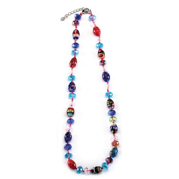 Bead String Necklace Oval Stones And Faceted Beads Made With Millefiori Glass by JOE COOL