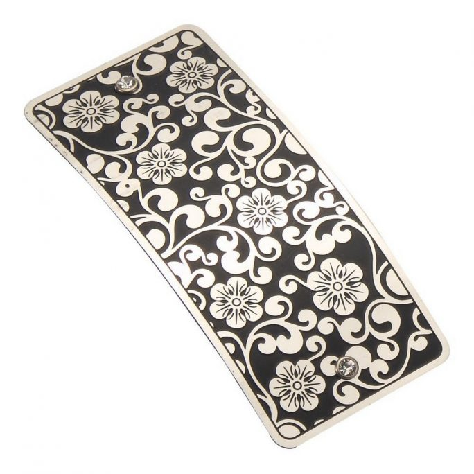 Barrette Rectangle Yusu Etched Flowers Made With Copper by JOE COOL