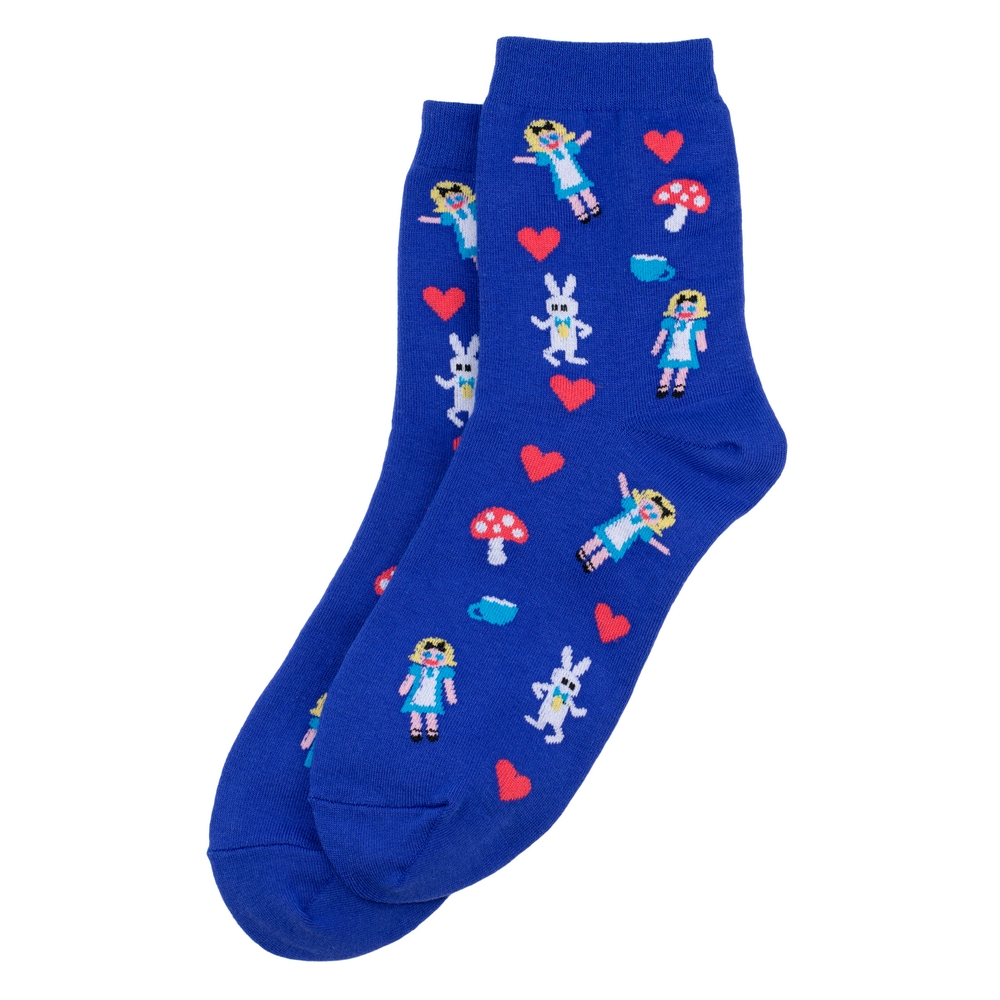 Socks Alice In Wonderland Made With Cotton & Spandex by JOE COOL