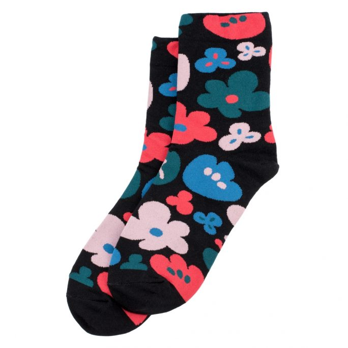 Socks Bold Block Flower Made With Cotton & Spandex by JOE COOL