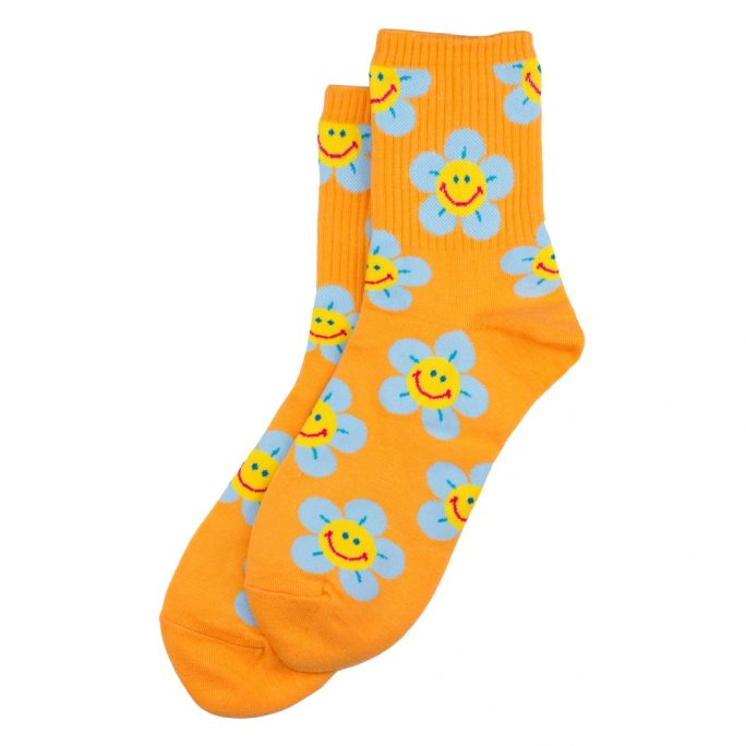 Socks Sunny Flower Face Made With Cotton & Spandex by JOE COOL