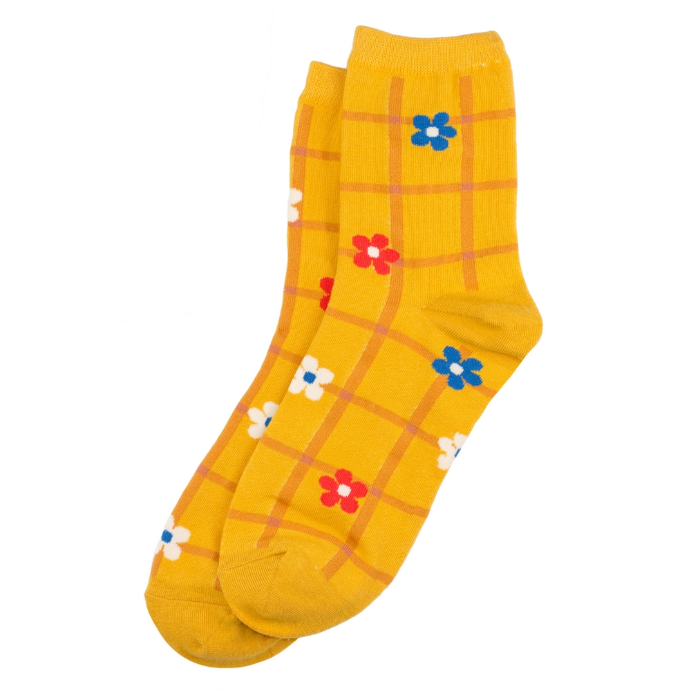 Socks Checked Flower Made With Cotton & Spandex by JOE COOL