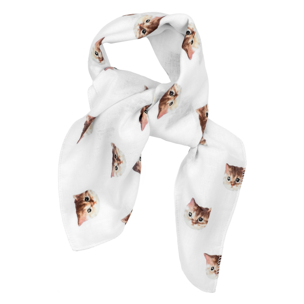 Scarf Kerchief Dream Cat Made With Cotton by JOE COOL