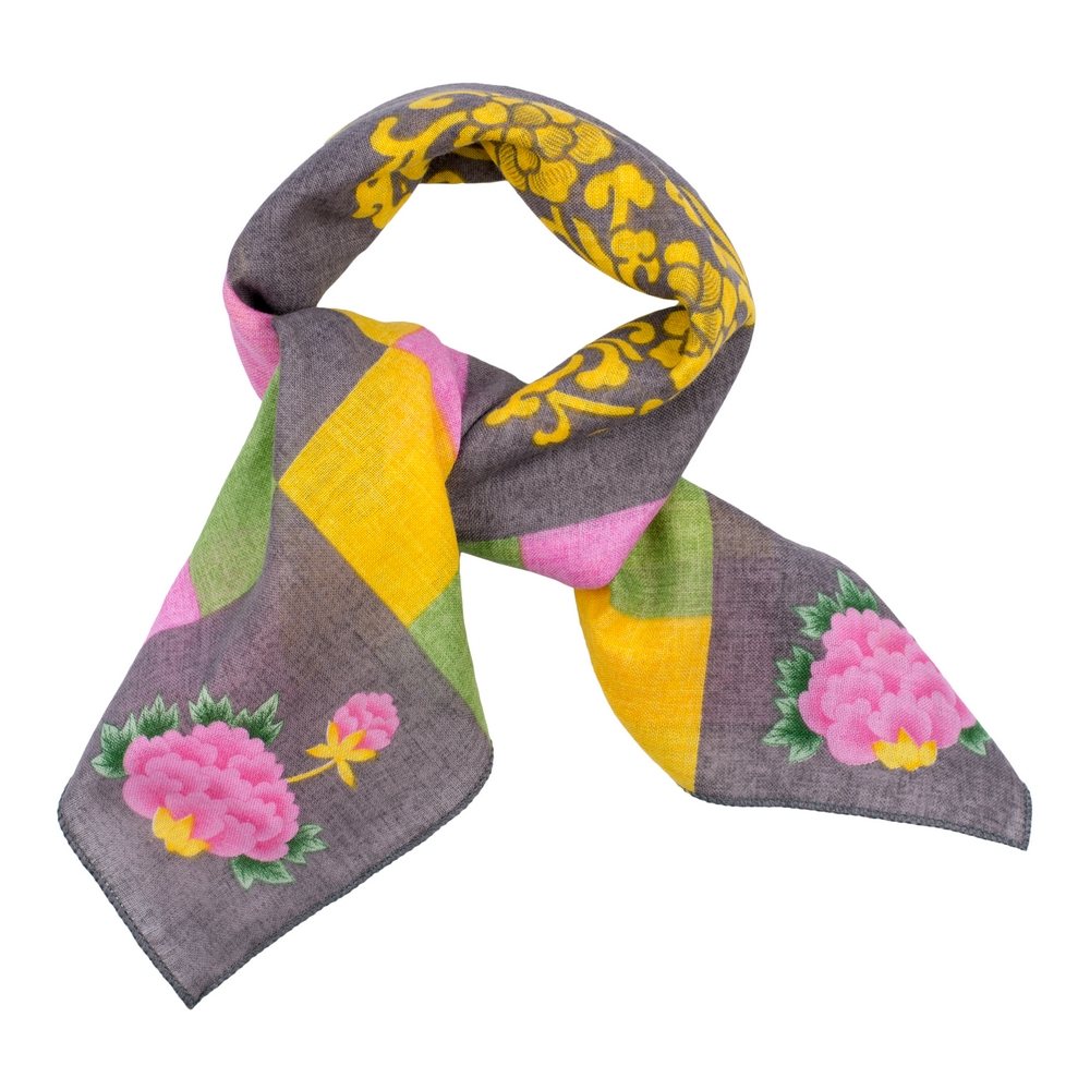 Scarf Kerchief Peony Checker Made With Cotton by JOE COOL
