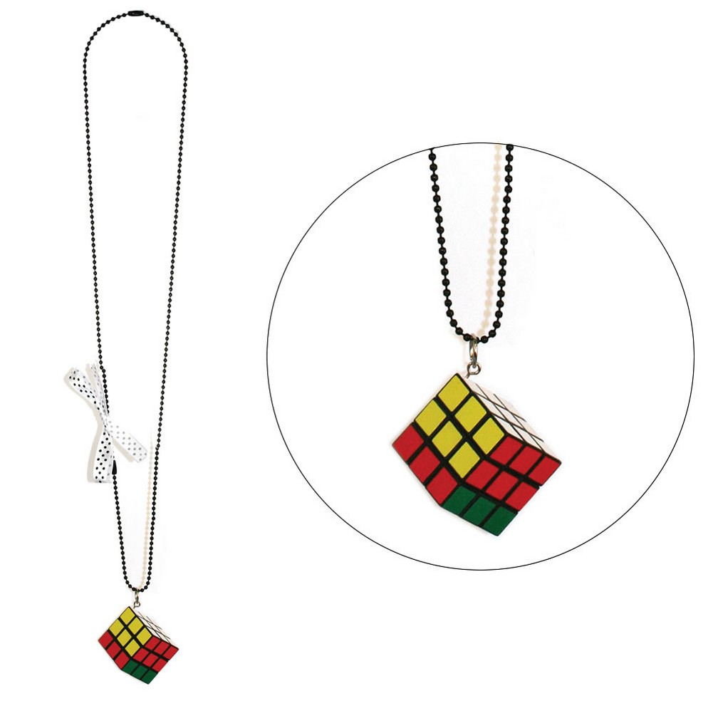Necklace With A Pendant Chain & Rubix Cube With Polka Dot Bow Made With Resin by JOE COOL