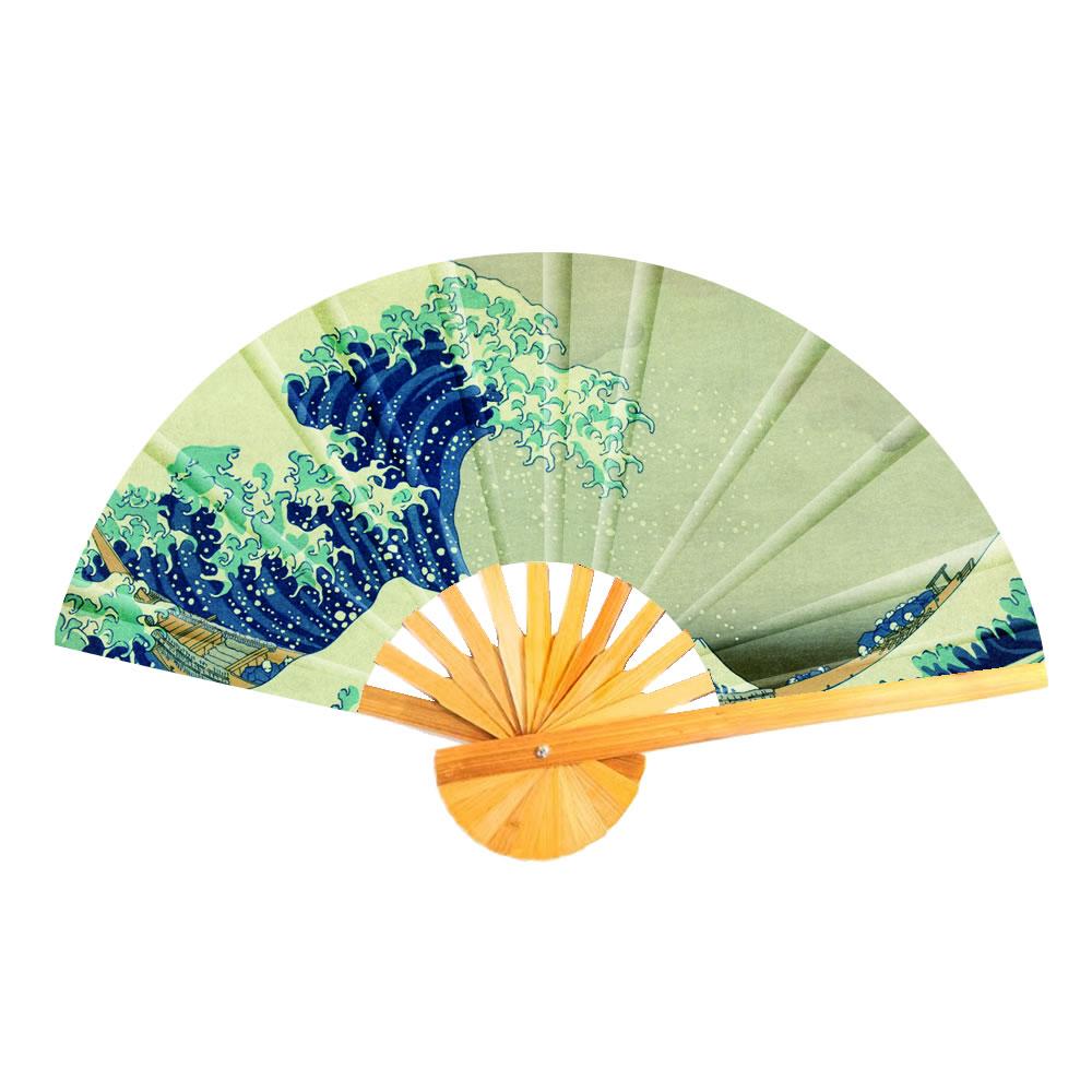 Fan Hokusai The Great Wave Of Kanagawa Made With Cotton & Bamboo by JOE COOL