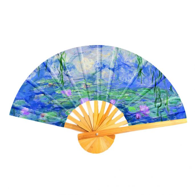 Fan Monet Water Lillies Made With Cotton & Bamboo by JOE COOL