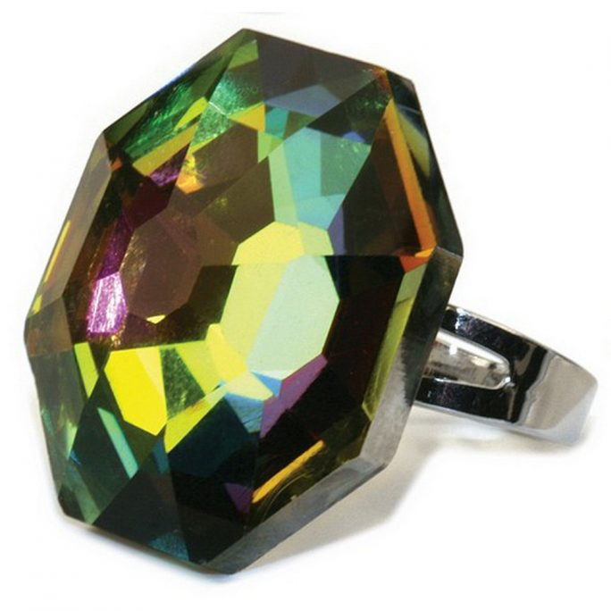 Ring Cocktail Aurora Borealis Faceted Made With Crystal Glass by JOE COOL