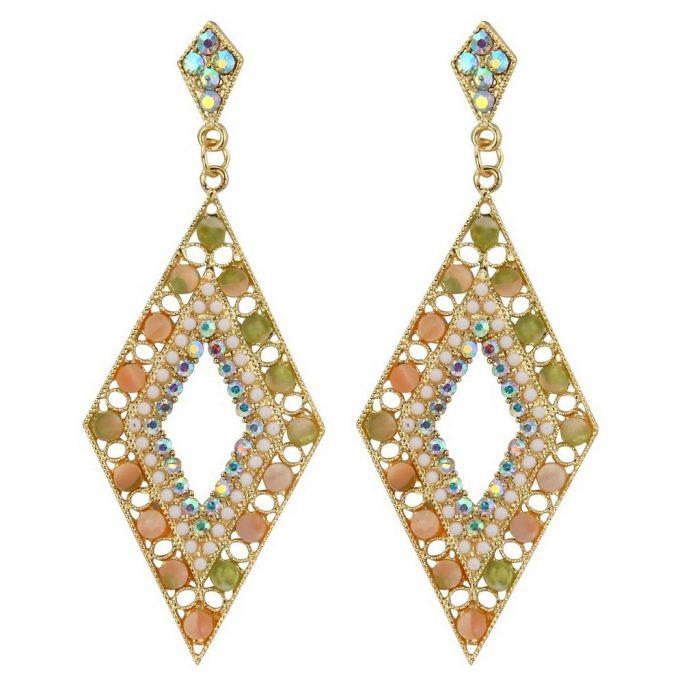 Stud & Drop Earring Pearl Gilt Frame Diamond Made With Crystal Glass & Tin Alloy by JOE COOL