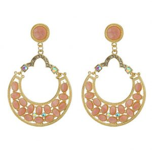 Stud & Drop Earring Pearl Gilt Frame Made With Crystal Glass & Tin Alloy by JOE COOL