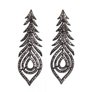 Drop Earring Marcasite Great Gatsby Made With Crystal Glass & Zinc Alloy by JOE COOL