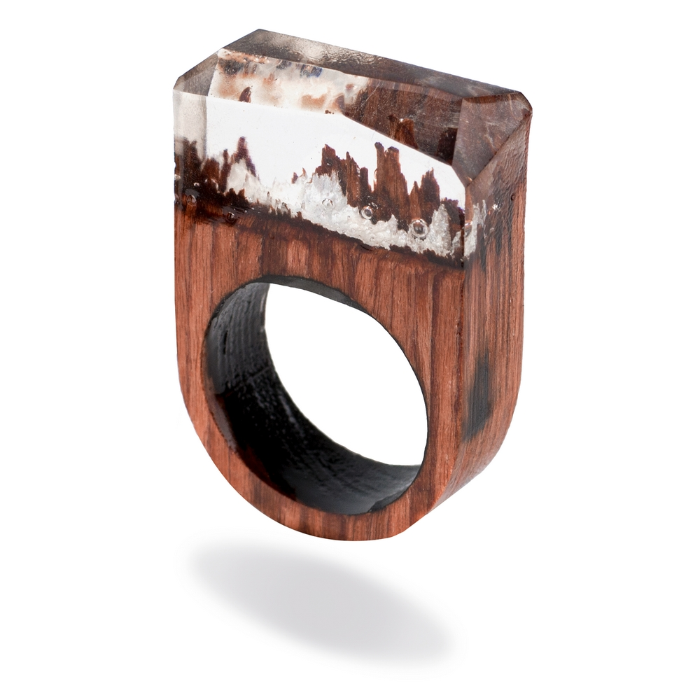 Ring Fantasy Landscape Made With Wood & Acrylic by JOE COOL