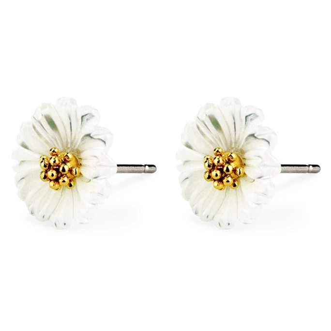 Stud Earring Daisy Blossom Made With Tin Alloy & Pearl by JOE COOL