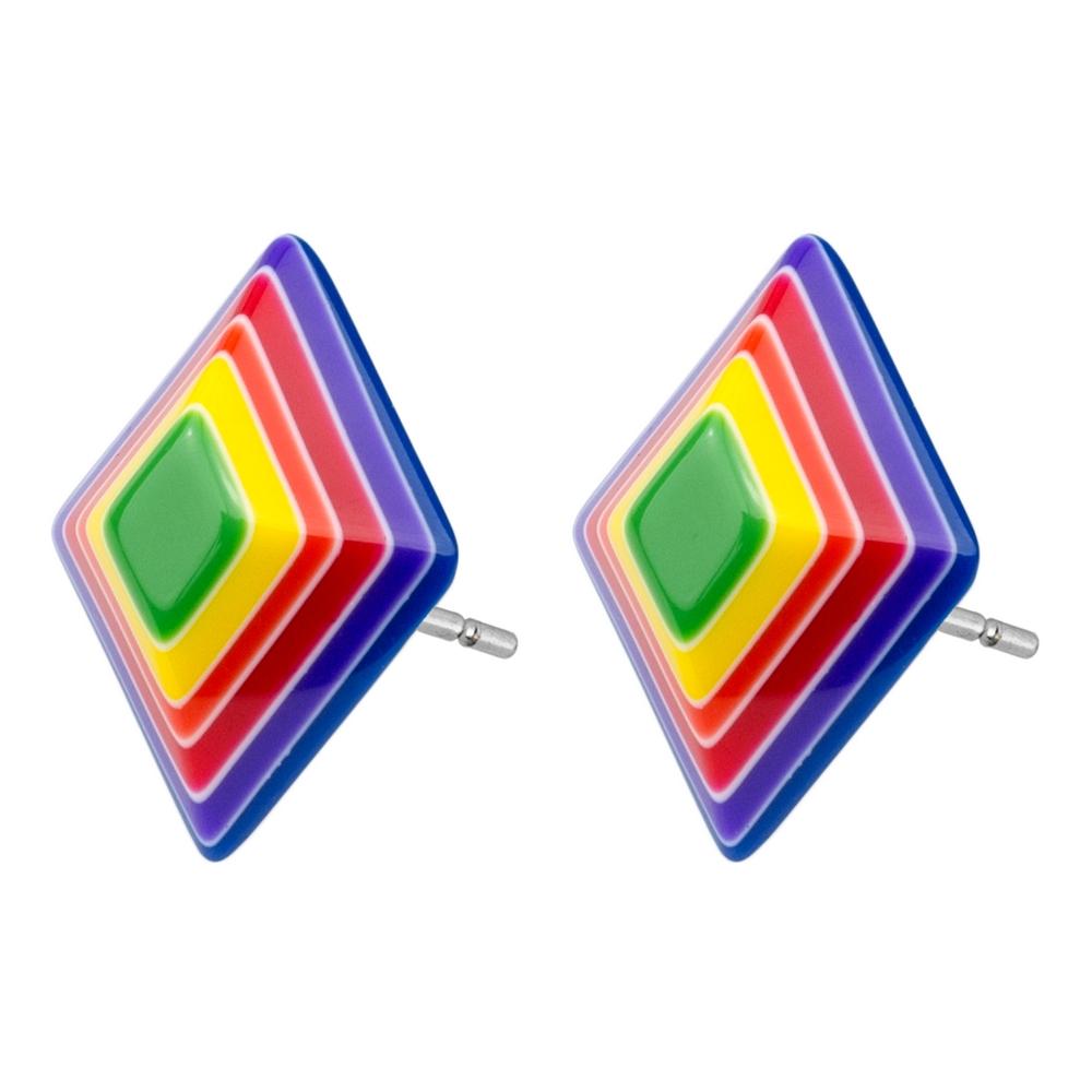 Stud Earring Rainbow Slice Diamond Made With Resin by JOE COOL