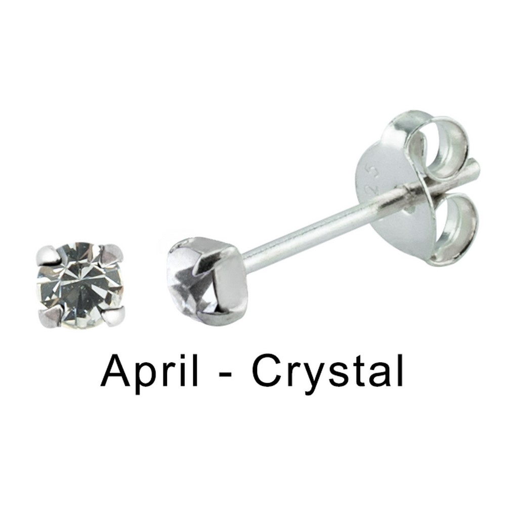 Stud Earring Birthstone In Claw Setting - April Crystal Made With 925 Silver & Crystal Glass by JOE COOL