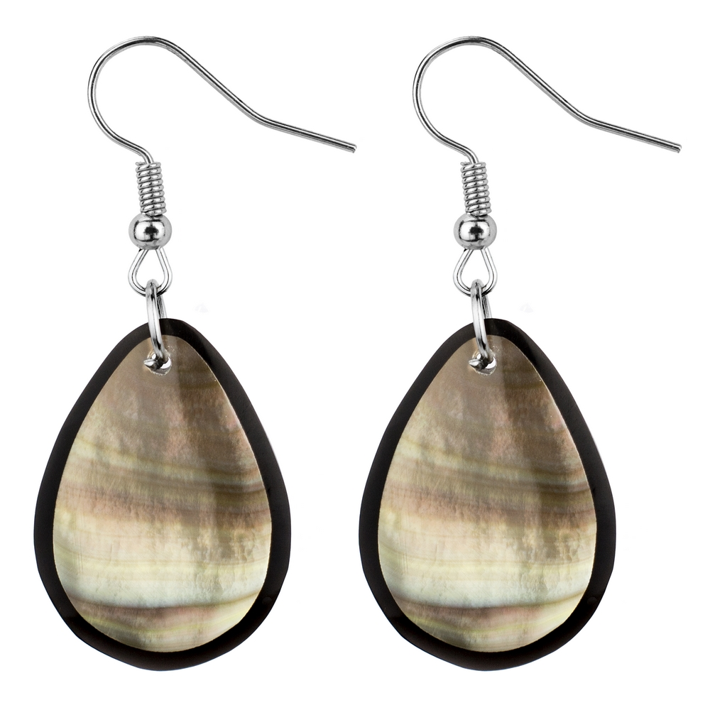 Drop Earring Inlay Oval Mother Of Pearl Made With Resin & Shell by JOE COOL
