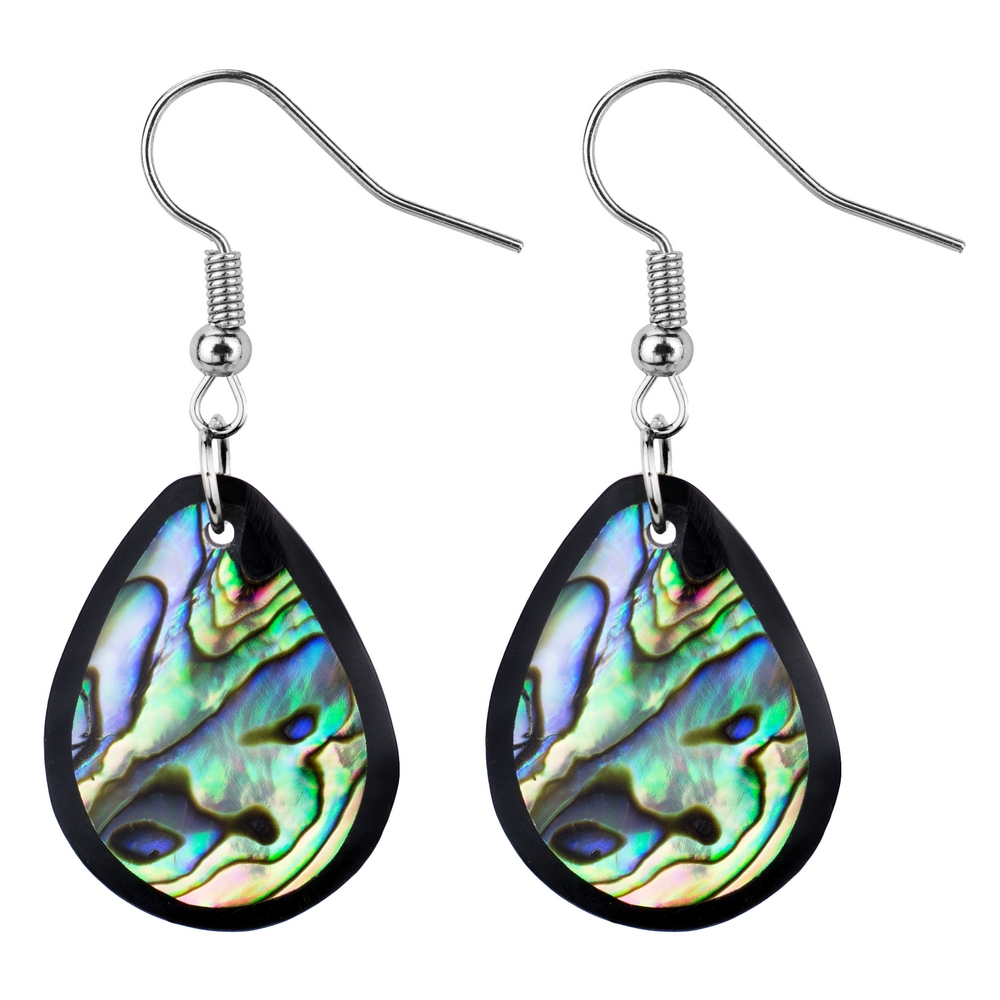 Drop Earring Inlay Oval Paua Made With Resin & Shell by JOE COOL
