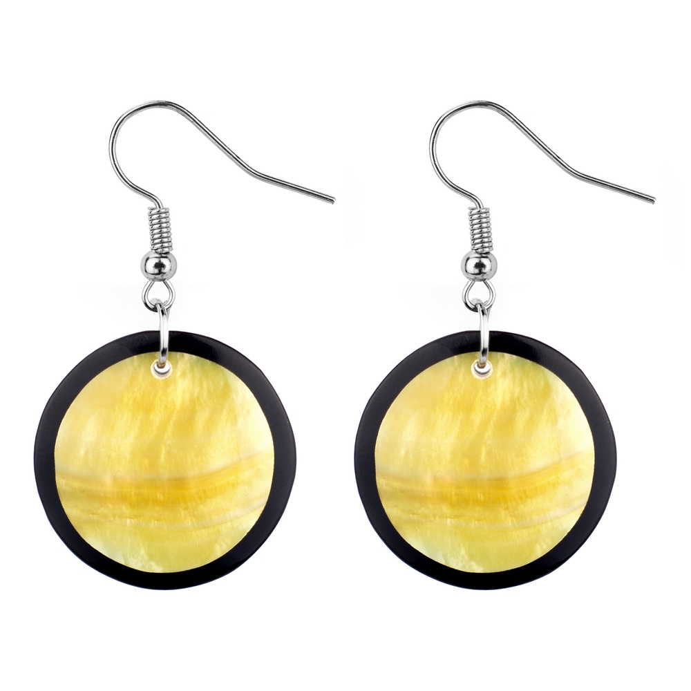 Drop Earring Inlay Round Mother Of Pearl Made With Resin & Shell by JOE COOL